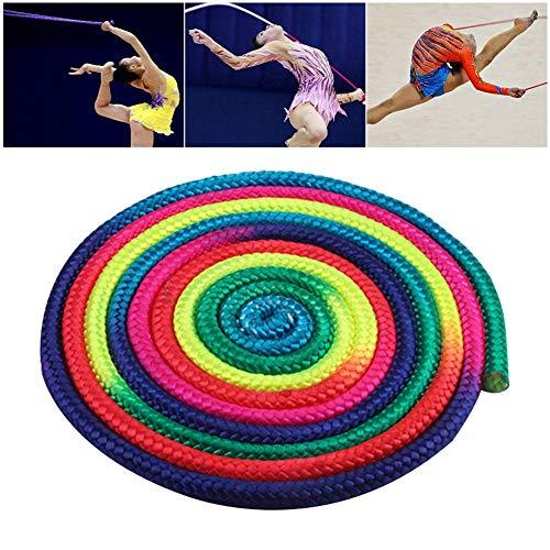 Brownrolly Rhythmische Gymnastik Kunstseil, Springseil Übung & Fitness Aerobic Gymnastik Springseil, Regenbogen Sporttraining Wettbewerb Seil