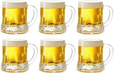 Circleware 42799 Roadhouse Mini Mason Beer Mug Heavy Base Glasses, Set of 6, Fun Party Entertainment Beverage Drinking Glassware Tumbler Whiskey Coffee Espresso Liquor Jello Shots Cups, 1.7 oz