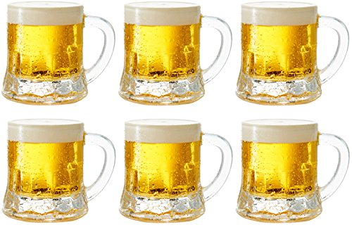 Circleware 42799 Roadhouse Mini Mason Beer Mug Heavy Base Glasses, Set of 6, Fun Party Entertainment Beverage Drinking Glassware Tumbler Whiskey Coffee Espresso Liquor Jello Shots Cups, 1.7 oz