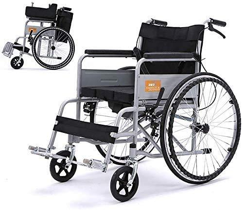 HY-WWK Rollstuhl Leichter Transport Klappbarer Tragbarer Reisestuhl Älterer Behinderter Skateboard Manueller Haushalt Mit Toilette Bequem