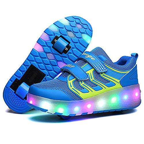 EnergyPower ローラーシューズ 360度光るソール USB充電 2輪式 前輪取り外し可能・後輪はワンボタン収納式 全周LEDライト内蔵 前後ダブルローラー 2ウィール 靴の裏も光ります ローラーをしまえば普通の子供用運動靴に キッズスニーカー LEDイルミネーション 通気性抜群 環境保護素材 ベルクロタイプ ローラースケート靴 (32(19.5cm), ブルー)