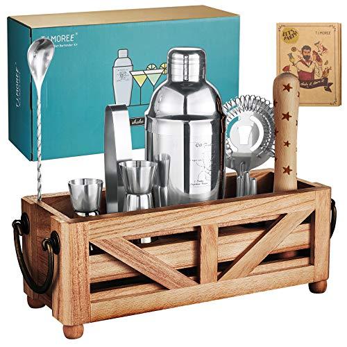 TJ.MOREE Barkeeper-Set mit Ständer für Hausbar, 11-teiliges Cocktail-Set mit rustikalem Tablett und Holzstößel für gemischte Getränke