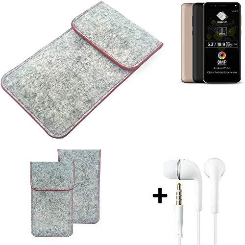 K-S-Trade® Handy Schutz Hülle Für Allview A9 Plus Schutzhülle Handyhülle Filztasche Pouch Tasche Hülle Sleeve Filzhülle Hellgrau Roter Rand + Kopfhörer