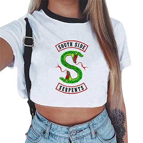 Magliette Tumblr Ragazza Riverdale Crop Top T-Shirt Estate Donna Canotta Maniche Corte Collo Rotondo Maglietta Moda Hip Pop Top Casuale Camicetta Camicia Ritagli Pullover (1150, S)