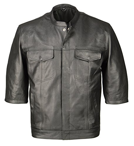 M Boss Motorcycle Apparel BOS11601 Mens Black 3/4 Sleeve Snap Front Leather Shirt with Exterior Gun Pocket - Large
