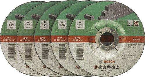 Bosch DIY Trennscheibe Stein (für Winkelschleifer, 5 Stück, Ø 125 mm, gekröpft, C 30 S BF)