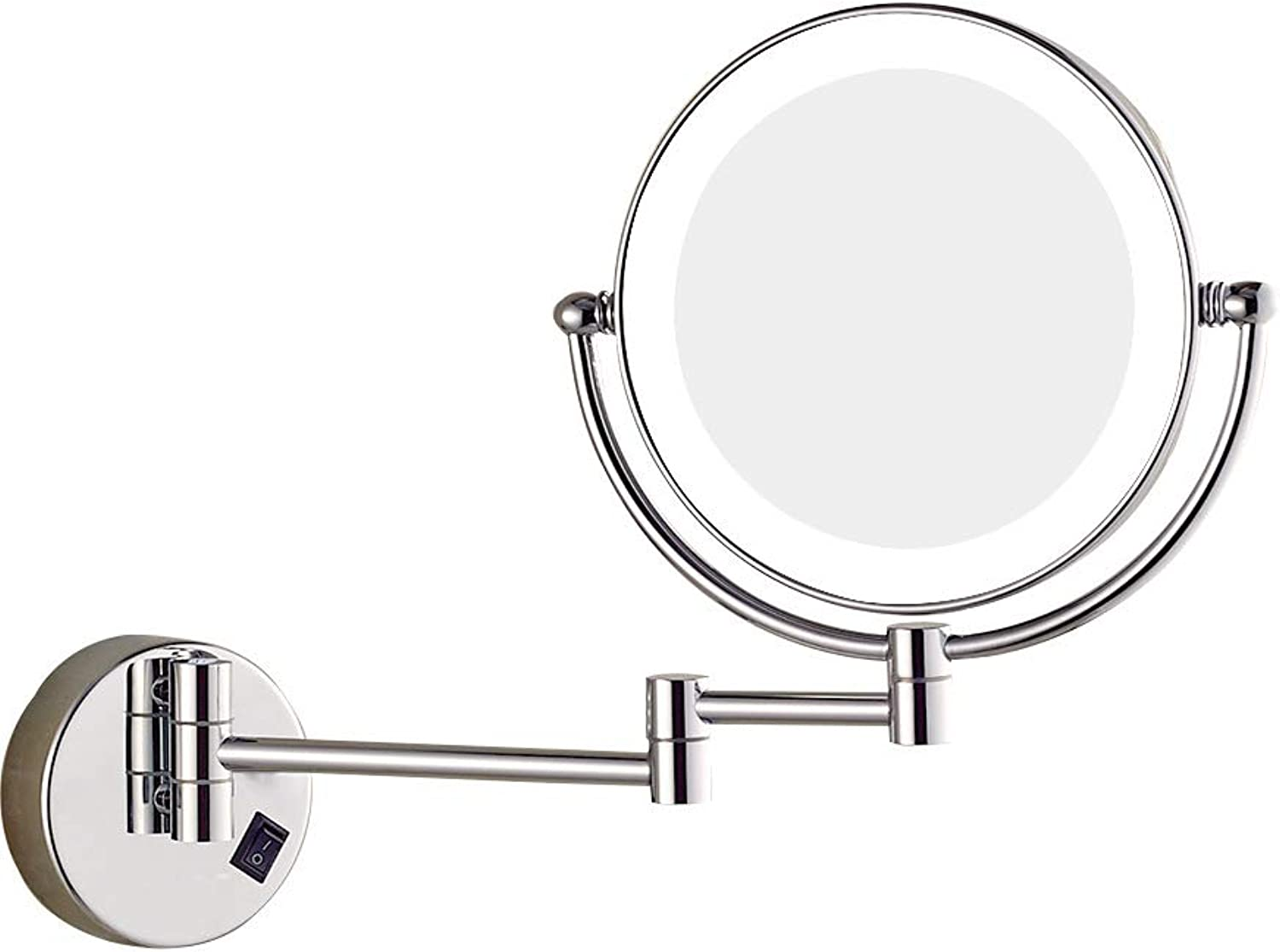 LED Lighted Wall Mount Makeup Mirror Two Sided 360° Swivel Mirror Magnification Chrome Finish for Bathroom Round