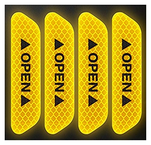 XDTLD 4pcs etiqueta engomada del coche, advertencia de seguridad de la puerta, adhesivo reflectante, apertura automática, banda reflectante, de larga distancia de aviso a prueba de agua, luminosa Etiq