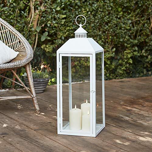 Lights4fun Weiße Metall Laterne inkl. 3er Set TruGlow® Kerzen mit Timer für Innen & Außen 59cm