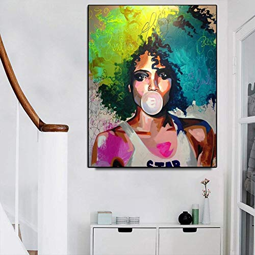 KWzEQ Imprimir en Lienzo Imagen Colorida Colorida del Arte del onhomewall de la Mujer africana60x75cmPintura sin Marco