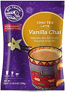 Big Train Vanilla Chai Tea Latte, 56 Ounce Powdered Instant Chai Tea Latte Mix, Spiced Black Tea with Milk, For Home, Café, Coffee Shop, Restaurant Use