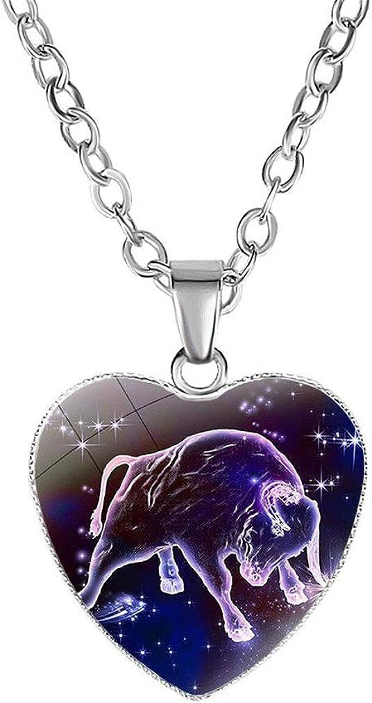 FOY-MALL Metal Glass 12 Constellation Taurus Heart Pendant Necklace XL1531N