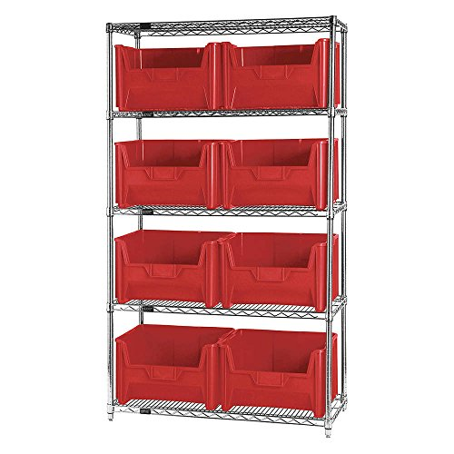 "Quantum Storage Systems WR5-700RD 5-Tier Complete Wire Shelving System with 8 QGH700 Red Giant Stack Bins, Chrome Finish, 18"" Width x 42"" Length x 74"" Height"