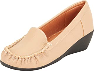 Cambridge Select Women's Slip-On Chunky Platform Low Wedge Loafer