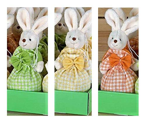 Mopec Tris di Coniglietti in Sacchetto di Tessuto con Praline di Cioccolato al Latte Ripieno di Nocciola - 3 x 60 Gram