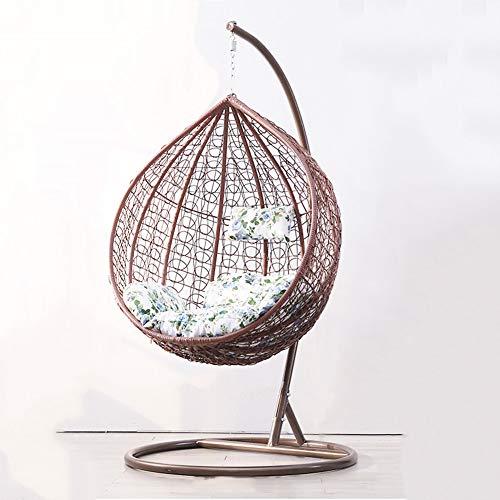 Wcgcg Home Luxe - Silla de mimbre para interiores y exteriores, diseño de huevos, color marrón