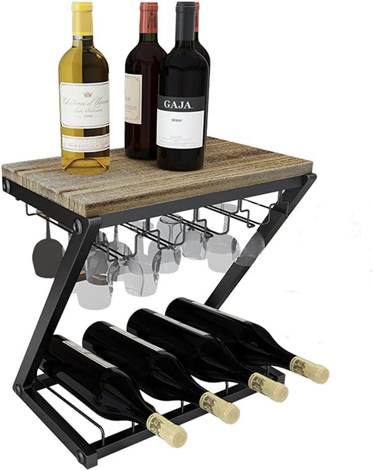 2 Niveles Botelleros Vino De Pie, Porta Botella de Vino Organizador Holder Stand Topor Licor Almacenamiento Estante De Madera Maciza Madera Y Hierro para El Hogar Cocina