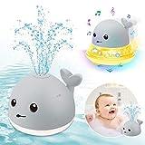 ENJSD Kinder Schwimmende 2 in 1 Badespielzeug Baby Wasserspielzeug Automatische Induktions Sprinkler Wal mit Licht und Musik, Babyspiel Wasserbad Spielzeug für Baby Kleinkinder (Grau)
