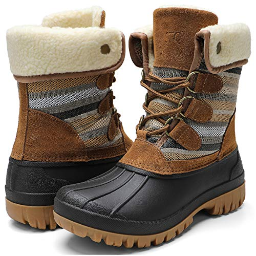 STQ Winter Snow Boots for Women Waterproof Cold Weather Women Duck Boots Taupe/Tan 9 M US