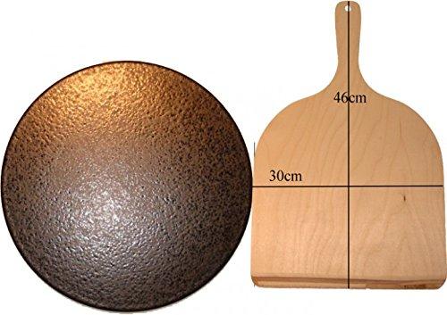 Pizzastein, Brotbackstein, aus glasiertem Cordierit 350x20mm mit Holzschieber 30x46cm