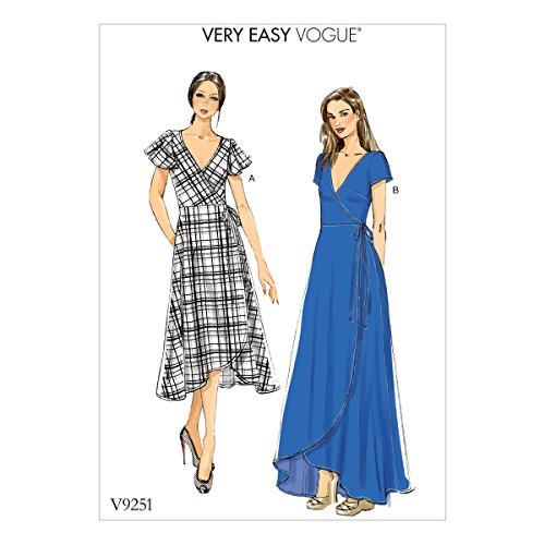 Vogue Patterns V9251B50 Wrap Dress 8-10-12-14-16 Red