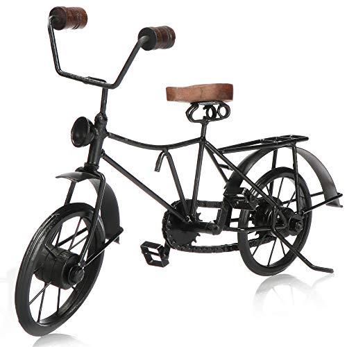 com-four® Bicicleta Decorativa - Modelo de Bicicleta de Metal - Vehículo de colección de época - Bicicleta Decorativa para exponer y Regalar (Negro con lámpara)