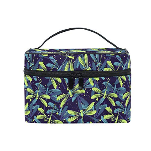 HaJie Large Capacity Makeup Bag Organiser Dragonfly Pattern Animal Print Travel Portable Cosmetic Case Toiletry Storage Bag Wash Bag for Women Girls