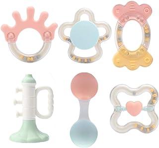 العاب خشخيشات بعضاضة وشكل دائري وتصاميم مختلفة للاطفال، مجموعة مكونة من 6 قطع