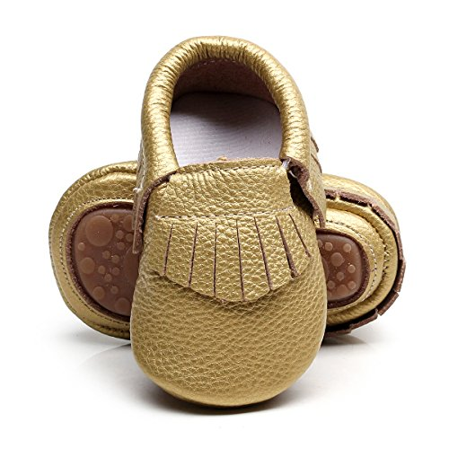 HONGTEYA Leather Baby Moccasins Hard Soled Tassel Crib Toddler Shoes for Boys and Girls (18-24...