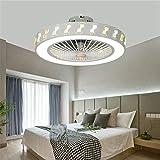 KLDX Ventilador de Techo con lámpara Moderno aspas Ocultas Luces de Techo LED con Control Remoto para Sala