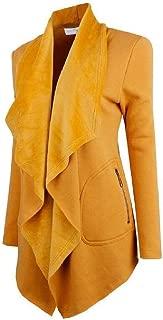 Energy Womens Zip Up Long Sleeve Open Front Lapel Solid Pockets Coat Jacket