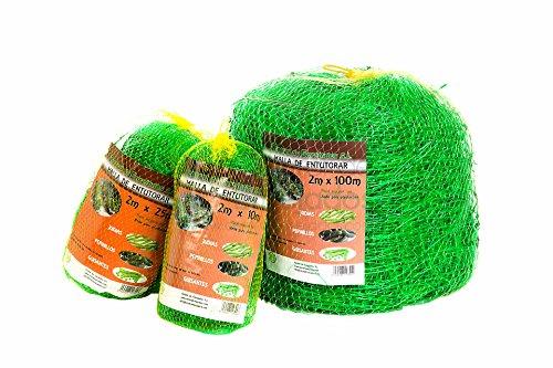 Malla entutorar de polipropileno color verde – Red extrusonada para entutorado de plantas de enrame, arbustivas, trepadoras tipo vainas, tomates, pimientos, etc. – Medidas 2 x 25 metros