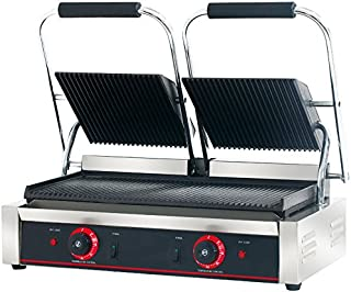 Hakka Commercial Professional Restaurant Grade Panini Press Grill and Sandwich Griddle