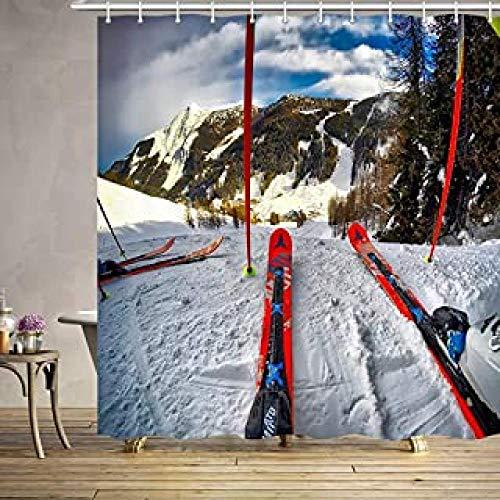 DAMCOK Decoración de baño Cortina de Ducha Patrón de esquí en Blanco Pequeño Aislado en números Esquiador Ocio Deportes Textura Hielo sin costuras-W150cmxH180cm