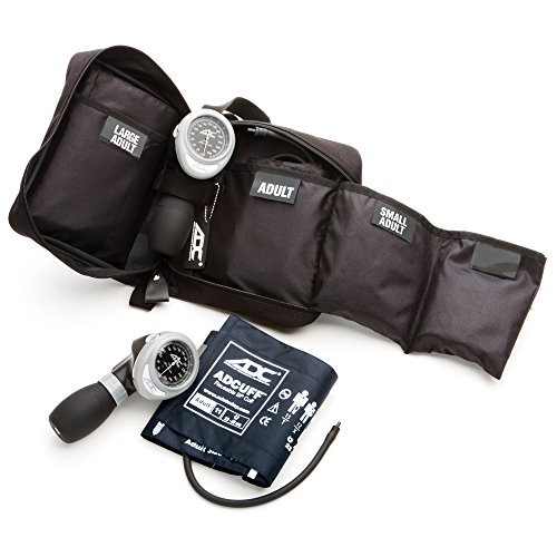ADC Diagnostix Multikuf 731 3-Cuff EMT Kit, Professional Palm Aneroid Sphygmomanometer, Small Adult, Adult, and Large Adult Blood Pressure Cuffs (19-50 cm), Black Nylon Zipper Storage Case with Compartments, Multi-Color