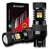 AUXLIGHT 7443 7443LL 7444NA T20 Switchback LED Bulbs 16SMD Chipsets Parking Lights / Daytime Running Lights / DRL and Turn Signal Lights with Projector replacement, White/Amber (Pack of 2)