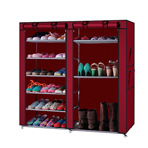 LEADZM 6-Row 2-Line 12 Lattices Non-Woven Fabric Shoe Rack,Closet&Cabinet&Shelf Shoe Storage Organizer with Dust-Proof Water-Proof 36-Pair Wine Red