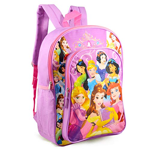 Disney Princess Backpack for Girls Kids Toddlers ~ Deluxe 16' Princess School Bag Bundle Featuing Ariel, Cinderella, Rapunzel, and More (Disney Princess School Supplies)