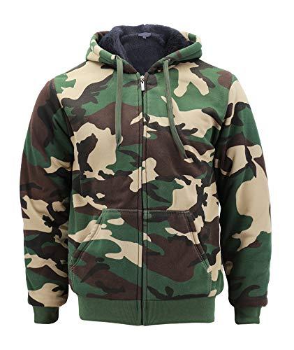 Men's Premium Athletic Soft Sherpa Lined Fleece Zip Up Hoodie Sweater Jacket (Camo Green, L)