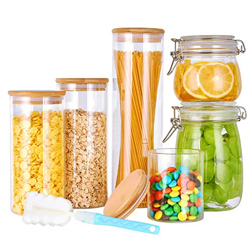 Glass Canister Set with Airtight Lid, Mason Jar with Airtight Hinge Lid, 6Pcs Airtight Glass Jar Set, Glass Kitchen Food Storage Container Set for Coffee, Pasta, Flour, Sugar, Fruit, Canning & Jam