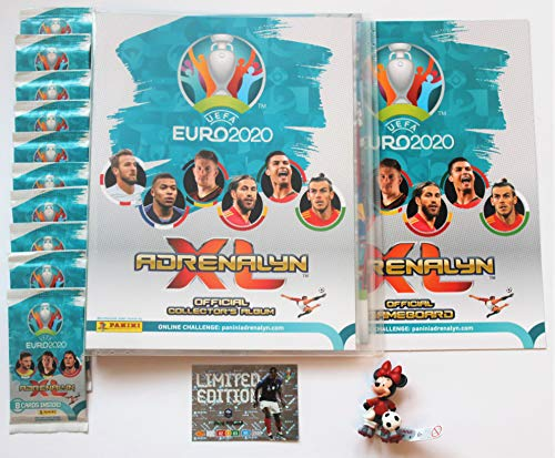 XL Panini Adrenalyn Euro 2020 Sammelmappe + 10 Booster + Limited Edition Pogba + Disney Fussballfigur Bullyland