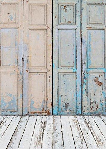 YongFoto 1x1,5m Vinyl Foto Hintergrund Holz Schäbig Blau Holztür und White Holzboden Leer Holzinnenraum Fotografie Hintergrund für Fotoshooting...