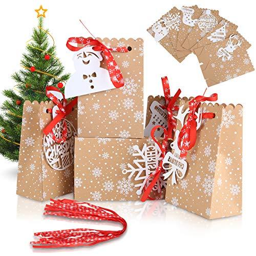 24 Geschenktüten Weihnachtstüten Kraftpapiertüten Braunen Papiertüten Geschenkbox Weihnachten Papiertüte mit 6 verschiedene Karten,Süßigkeiten Partytasche Geschenkverpackung 12 * 7 * 18.5cm