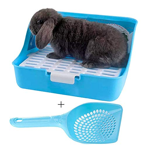 kathson Rabbit Litter Box, Rat Litter Tray Ferret Potty Training Corner Litter Pan Cage Cleaner for...