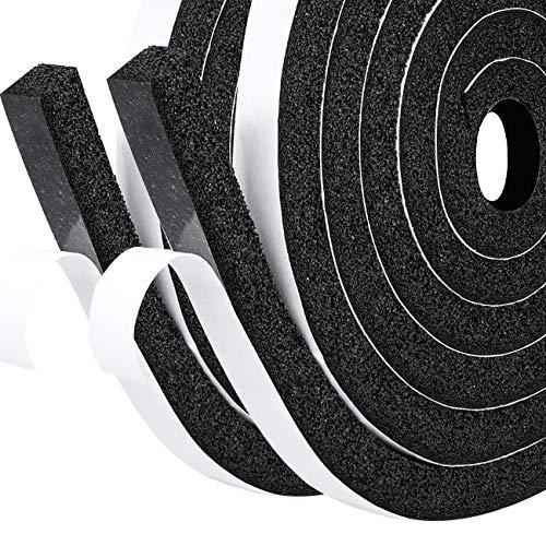 fowong Selbstklebend Schaumstoff Dichtungsband Tür Kompriband 12mm(B) x12mm(D) Fenster Klimaanlage Kollision Siegel Schalldämmung Gesamtlänge 4m (2 Rollen je 2m lang)