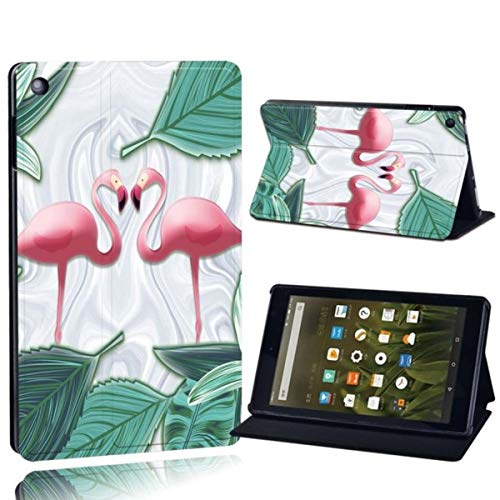 for Amazon Fire 7 5/7/9th Fire HD 8 10 Printed Leather Tablet Stand Folio Cover-Ultra-Thin Flamingo Tablet Stand Case,flamingo017,Fire HD 8
