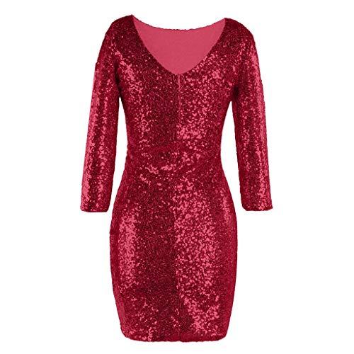 iYmitz Damen Glitzerndes Rundausschnitt Paillettenkleid Abend Minikleid Glam Pailletten Langarm Flapper Kleid