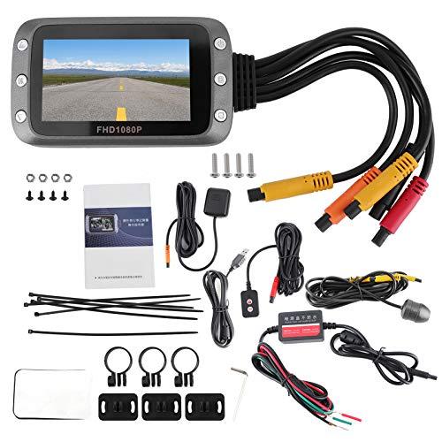 Aramox MT20C Impermeable Motocicleta DVR, 3in 1080P Cámara de doble lente DVR Grabadora de vista trasera frontal G-Sensor Grabación en bucle Soporte WIFI GPS
