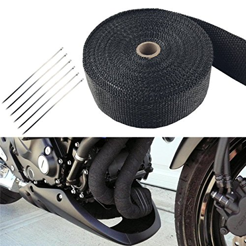 FREESOO Rollo de Cinta Aislante de Fibra para Tubo de Escape Titanio calor de Coche o Motocicleta 15M + 6 barras de acero inoxidable)