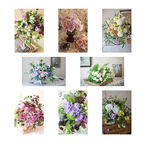 ポストカード 花の写真 8枚(8種)+おまけ1枚 セット 花屋オリジナル 花 ブーケ 花束 絵葉書 アレンジメント POSTCARD おしゃれ 絵はがき (20-06-Set2-FB2)